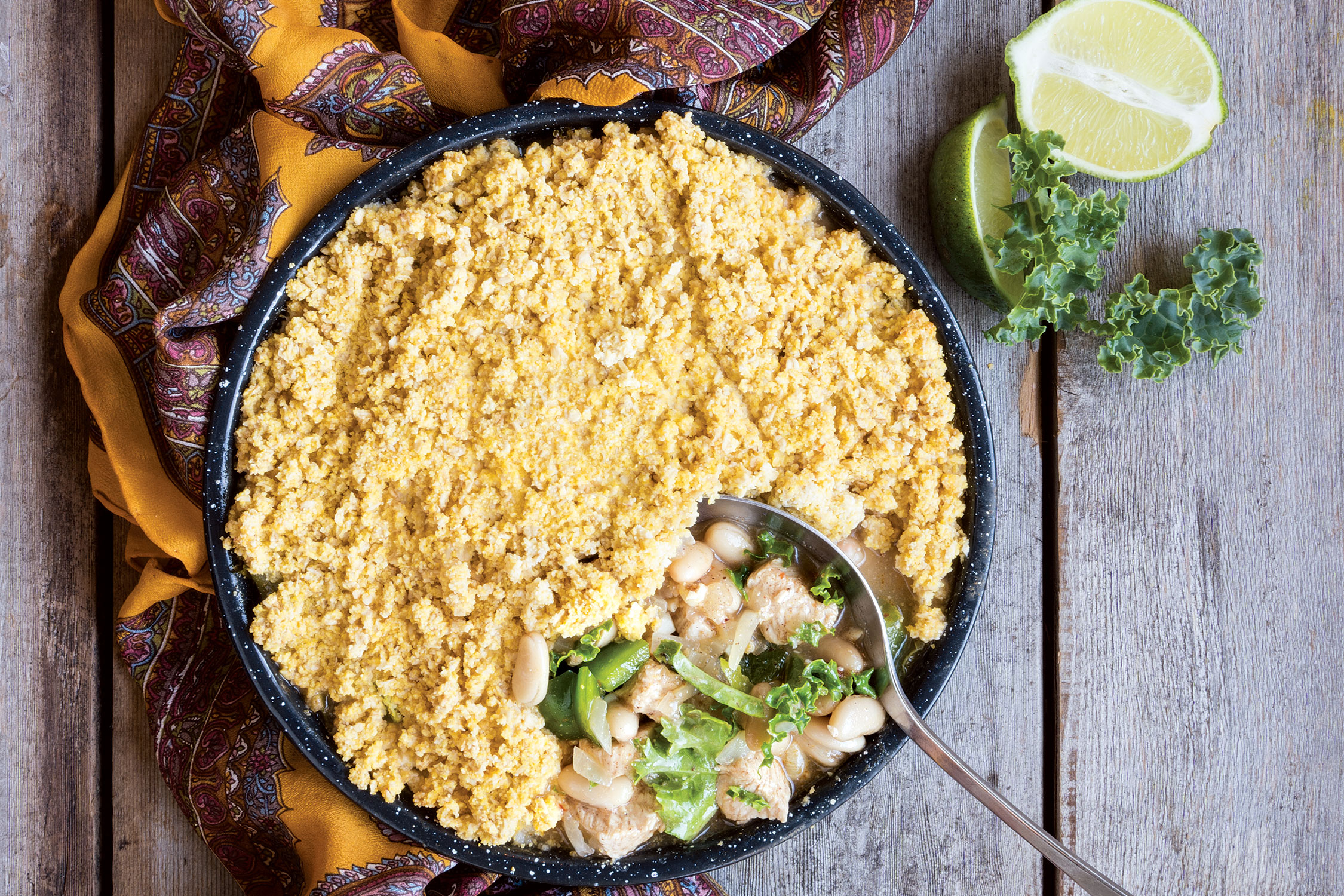 White Bean and Turkey Chili with Cornbread Crumble