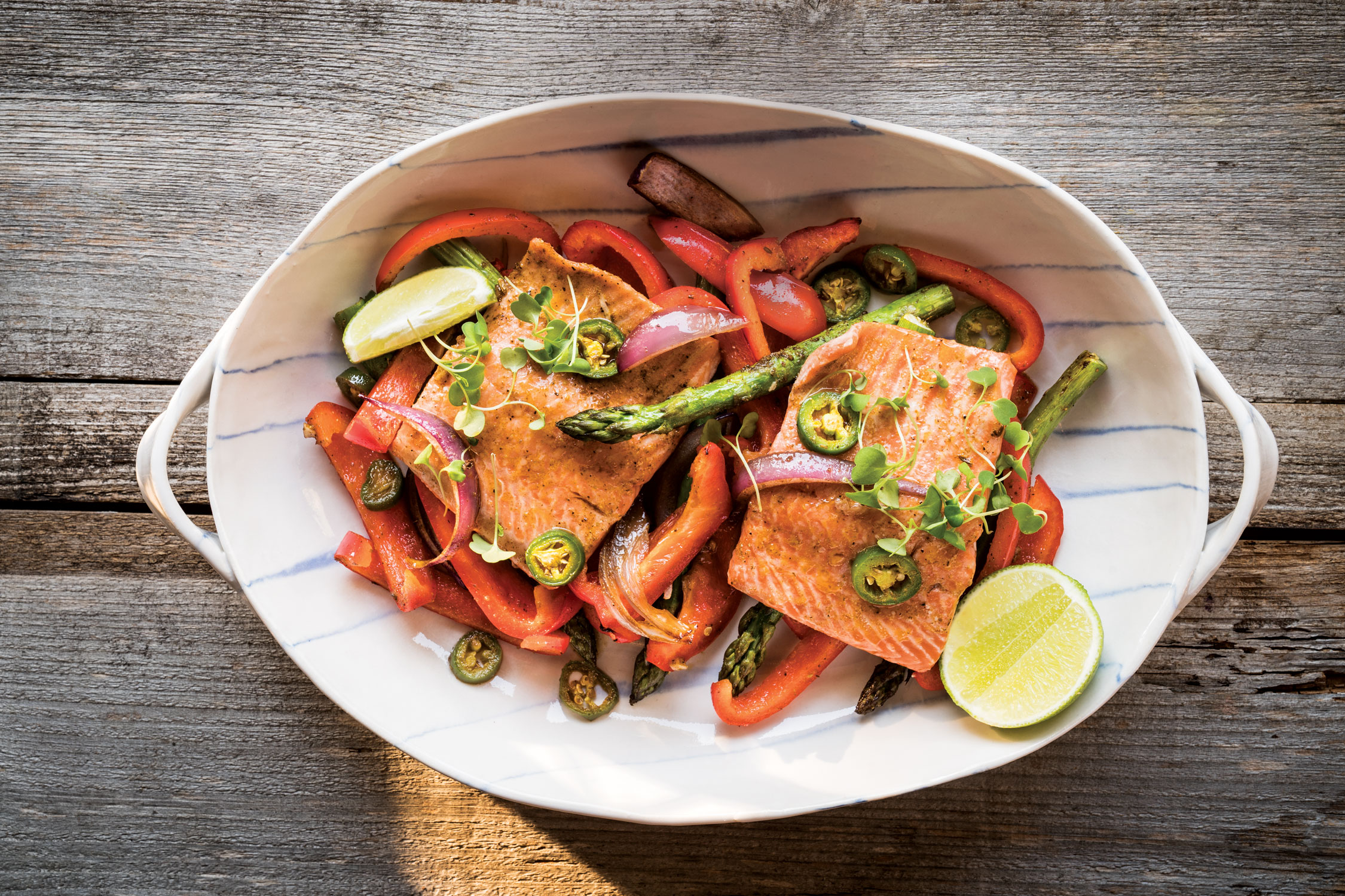 Sheet Pan Citrus Salmon with Roasted Onions and Peppers