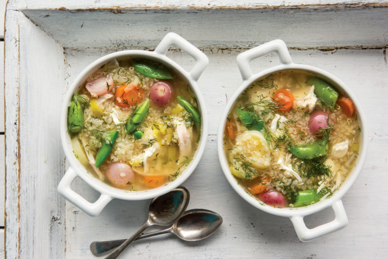 Poached Chicken Soup with Dill and Quinoa