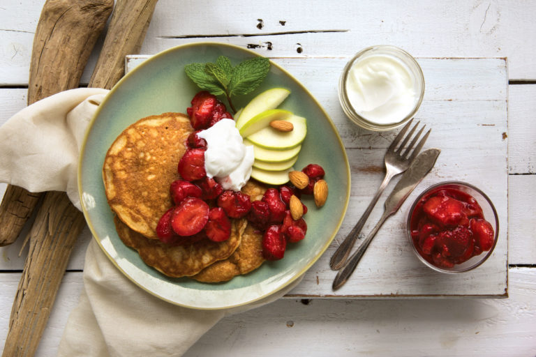 Coconut Pancakes with Strawberry-Mint Compote