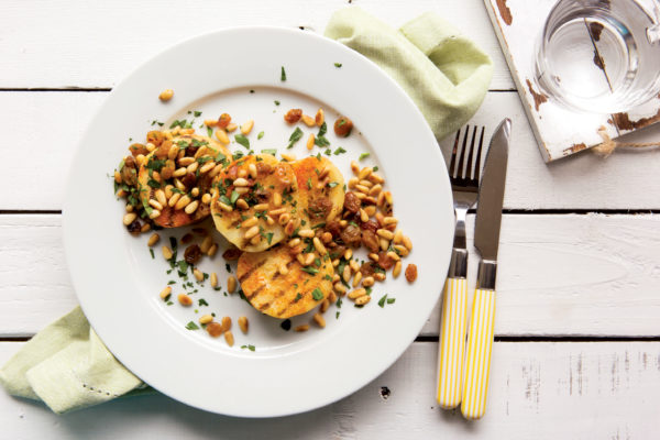 Grilled Celeriac Steaks with Parsley-Pine Nut Relish