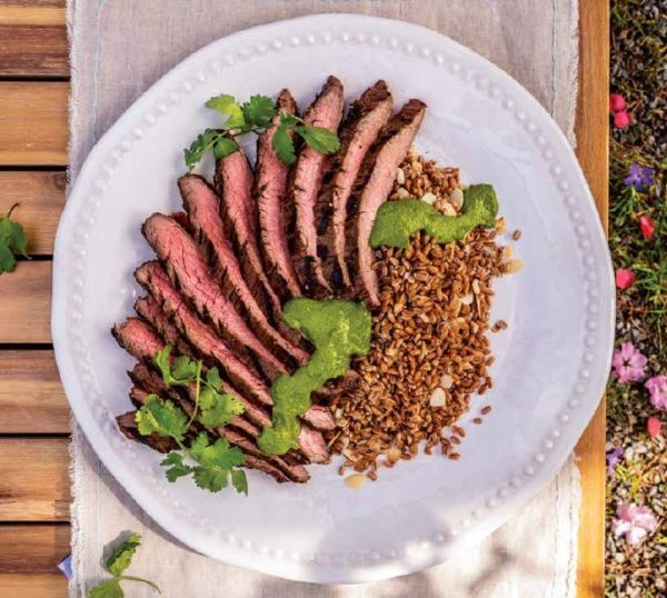 Flank Steak with Ancient Grains and Zhoug Sauce