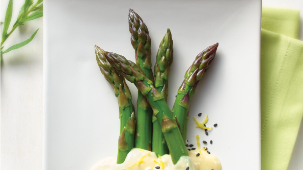 blanched asparagus with lemon-tahini dressing