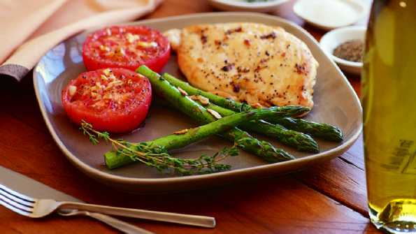 Lemon Chicken Paillard with Oven-Roasted Tomatoes