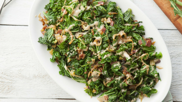 Kale Stems with Caramelized Onions and Bacon