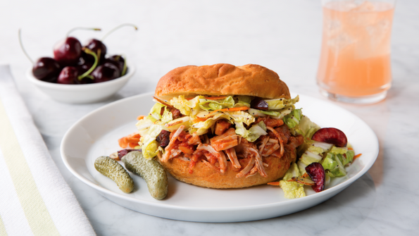 BBQ Pulled Jackfruit Sandwiches with Napa Cherry Slaw