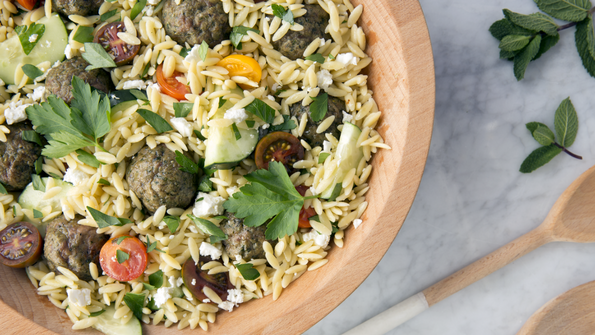 Herbed Lamb Meatballs with Orzo Salad