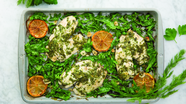 Roasted Tilapia with Dill and Garlicky Baby Kale